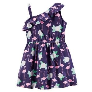 Girls Floral Flamingo Ruffle One Shoulder Dress